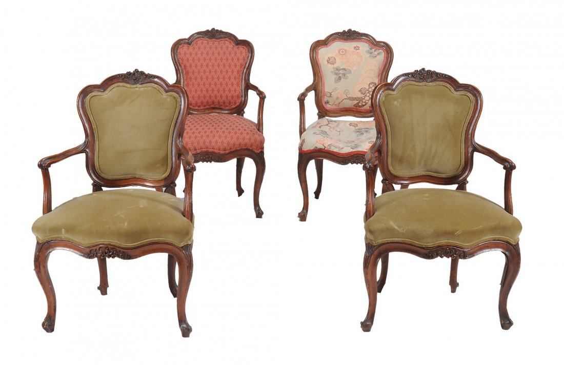 A pair of Louis XV walnut fauteuils, second half 18th