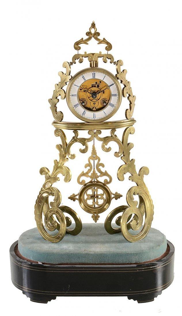 A French engraved brass mantel clock J. Silvani, Paris