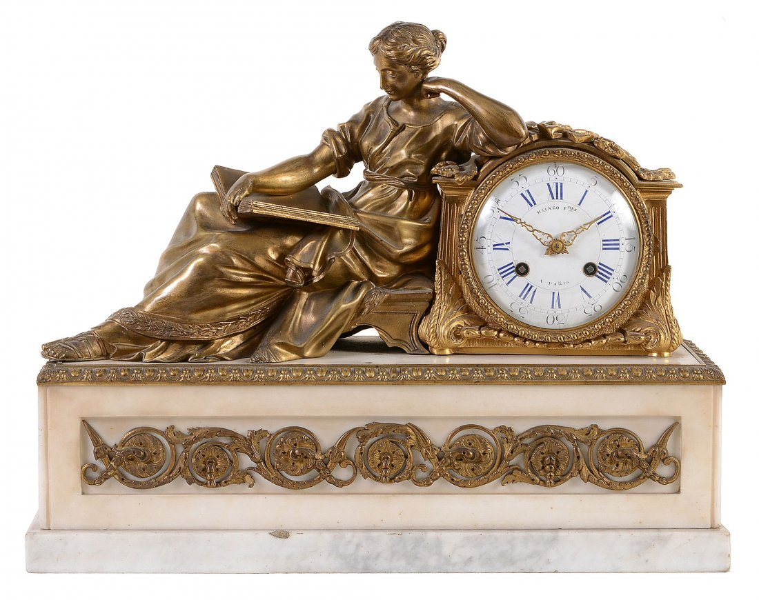 A French Napoleon III gilt bronze and Carrera figural