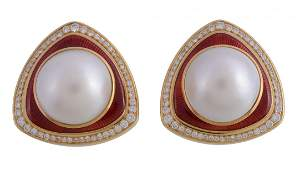 A pair of 18 carat gold mabe pearl, diamond and enamel