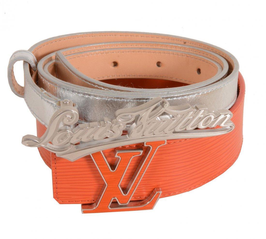Louis Vuitton, two leather belts, one 40mm orange Epi