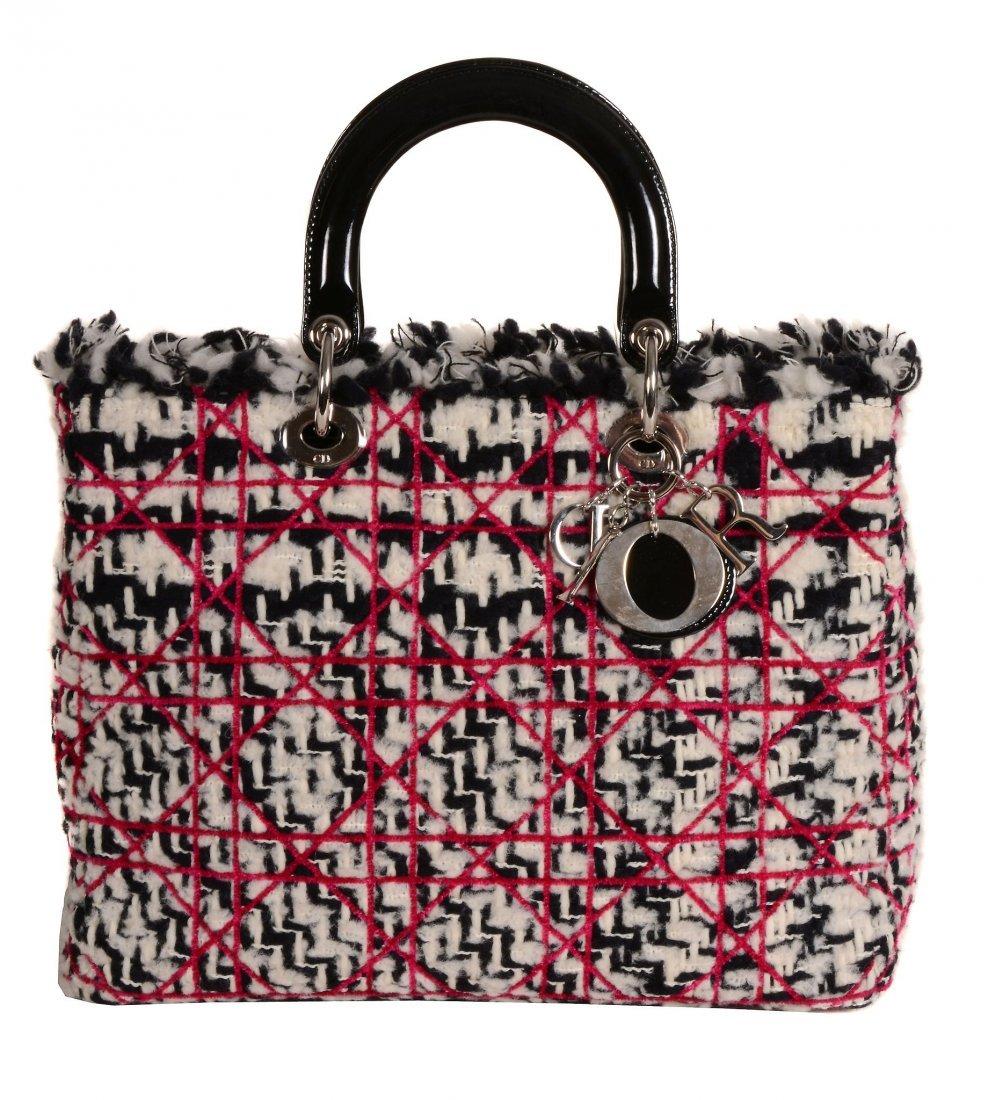 Dior, Lady Dior, a tweed fringe handbag, with patent