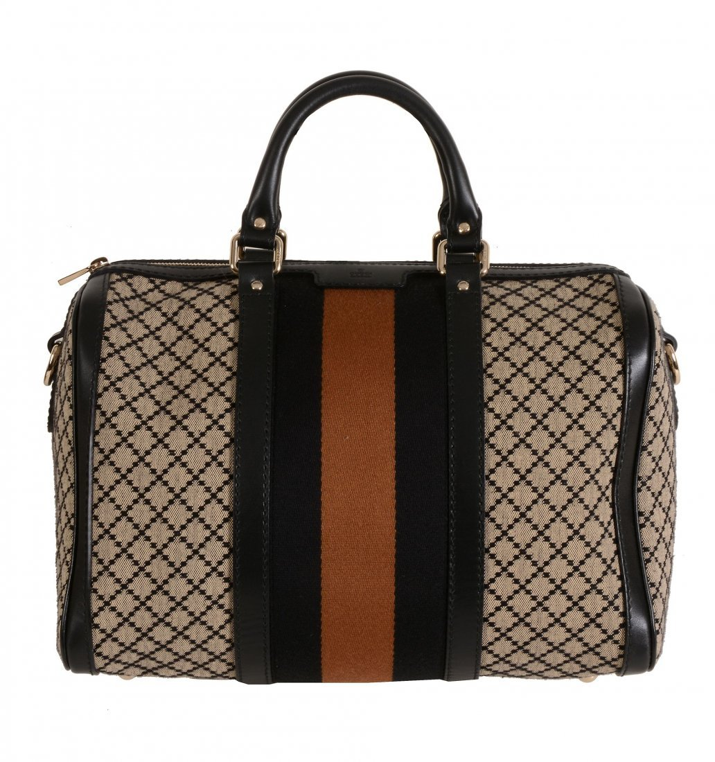 Gucci, Vintage Web, a Boston bag, in beige and brown