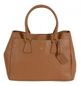 Prada, a naturale brown leather tote/shopping bag, with