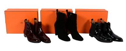 Hermes, a pair of Brighton black patent leather ankle