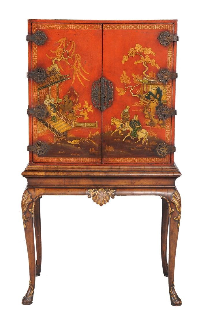 A red lacquer cabinet on stand in queen anne style for Bathroom cabinets 50cm wide