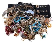 A collection of costume jewellery, including various