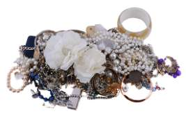 A collection of costume jewellery, including a silver