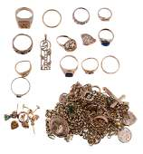 A collection of gold coloured jewellery to include