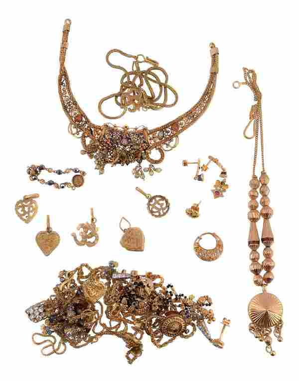 A collection of gold coloured jewellery, to include