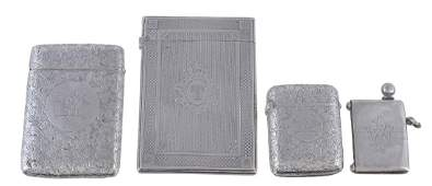 Two Victorian silver rectangular card cases and two