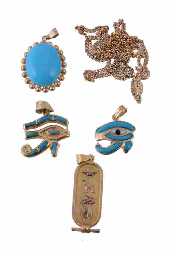A small collection of jewellery , to include a gold