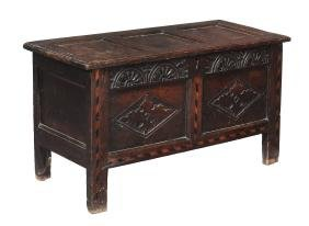 An oak and parquetry inlaid coffer , late 17th century,