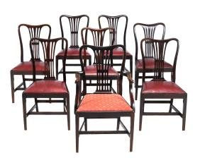 A set of eight mahogany dining chairs in George III