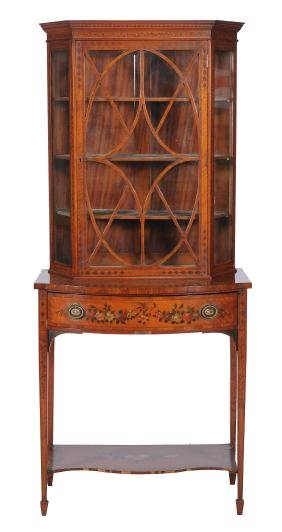 A Sheraton Revival satinwood display cabinet on stand