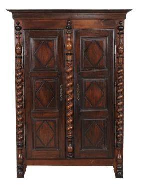 A French provincial beech and pine armoire , second