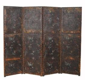 A painted and embossed leather four fold room screen,