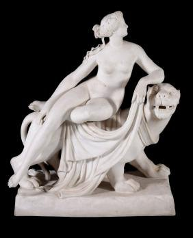 A Minton parian group of Ariadne and a bacchic panther,