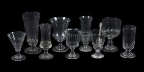 An assortment of mostly French drinking glasses