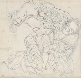 Attributed to Katsushika Hokusai Soko Protecting Lady