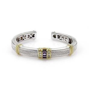 Judith Ripka 1.1ct Diamond & Amethyst Sterling 18k