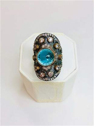 AMAZING LARGE BLUE TOPAZ AND CRYSTAL RING