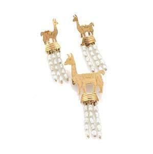 Handmade 18k Yellow Gold & Pearls Llama Dangle Earrings