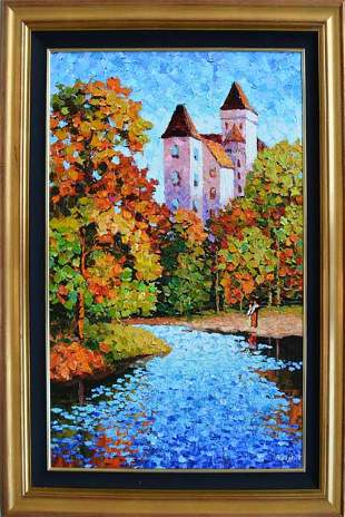 ANTANENKA ** A HOME BY THE WATER ** SIGNED CANVAS