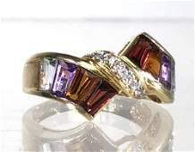 MULTICOLOR GEMSTONE DIAMOND AND 14K GOLD RING