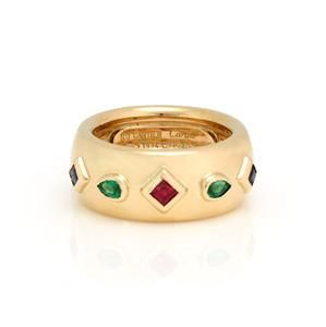 Cartier Byzantine 18k Yellow Gold & Gems 9mm Dome Band
