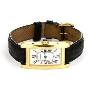 Cartier Tank Americaine 18k Yellow Gold Leather Band