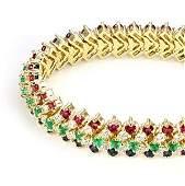 Estate 19.65ct Diamond & Gems 18k Yellow Gold 12mm Wide