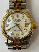 Midsize Datejust  ROLEX 18K & SS White MOP Mother Of