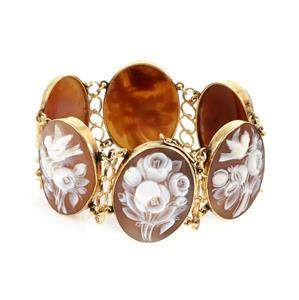 Vintage 14k Yellow Gold 6 Oval Floral Shell Cameo Link