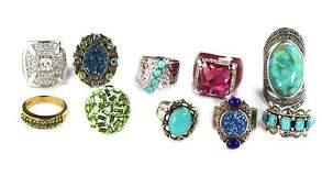 Vintage Lot of 10 Rings Turquoise Lapis Enamel Sterling