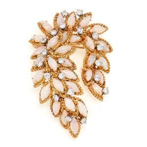 Vintage 13.00ct Diamond & Opal 18k Yellow Gold Floral
