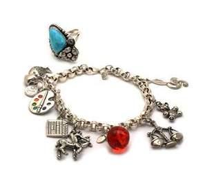 Vintage Sterling Silver Gems Multi Charm Bracelet &