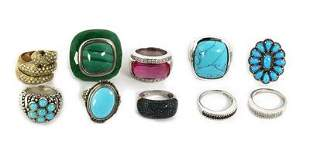 Vintage Lot of 10 Rings Multicolor Gems Marcasite