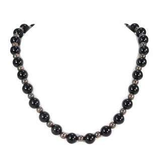 Tiffany & Co. Vintage Onyx & Sterling Silver Beaded