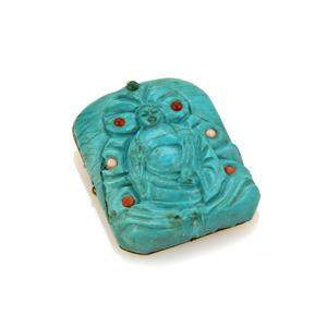 Vintage Genuine Carved Turquoise Buddha 14k Yellow Gold