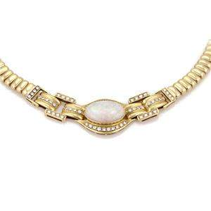 10.80ct Opal &Diamond 18k Yellow Gold Fancy Collar