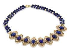 14k Yellow Gold Lapis Fancy Oval Link Double Strand