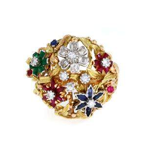 Estate 2.00ct Diamond & Gems 18k Gold Open Floral Dome