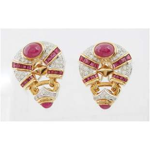 Stunning pair of Diamond and Ruby Earrings