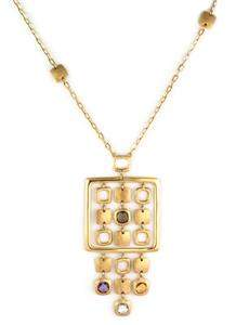 Beautiful 18k Yellow Gold & Gems Fancy Square Dangle