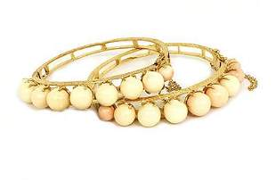 Vintage Coral 14k Yellow Gold Set of 2 Beaded Bangle