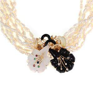 Diamond Onyx Frosted Crystal Gems 18k Floral Pendant