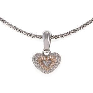 Chimento 1.00ct Diamond 18k Two Tone Gold Heart Pendant
