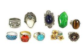 Vintage Lot of 10 Rings Turquoise Tigers Eye Lapis CZ