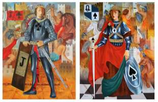 ARBE ** JACK OF CLUBS & JOAN OF SPADES ** SIGNED CANVAS
